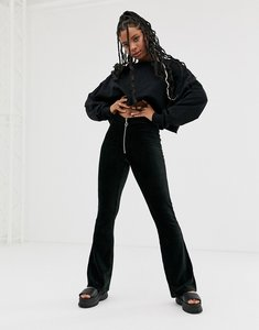 Read more about Noisy may zip detail cord flared trousers-black