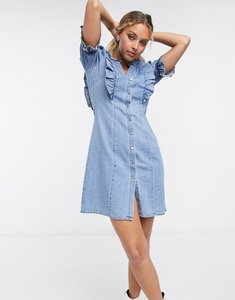 Read more about Object denim mini dress with button front and frill detail in light blue