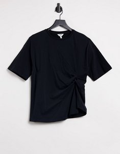 Read more about Object t-shirt with ruching in black