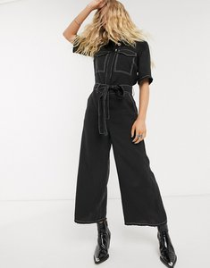 Read more about Object utility jumpsuit with contrast stitch and wide leg in black
