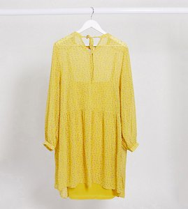 Read more about Only curve chiffon mini smock dress with tie neck in yellow ditsy floral-multi