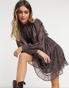 Read more about Only mini dress with high neck and ruffle detail in mixed floral print-multi