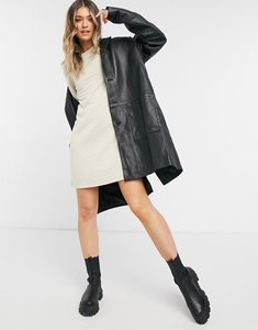 Read more about Only quilted mini dress with 3 4 sleeves in stone-black