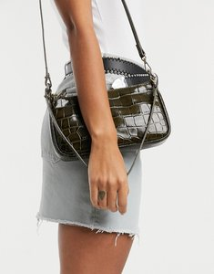 Read more about other stories croc leather baguette handbag in khaki-green