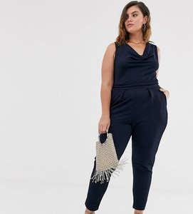 Read more about Outrageous fortune plus cowl front jumpsuit in navy-white