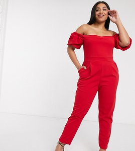 Read more about Outrageous fortune plus off shoulder puff sleeve jumpsuit in red