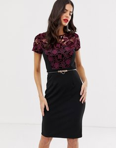 Read more about Paper dolls 2 in 1 midi pencil dress with waist belt-black