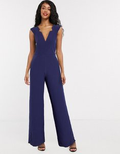 Read more about Paper dolls plunge jumpsuit with notch detail in navy