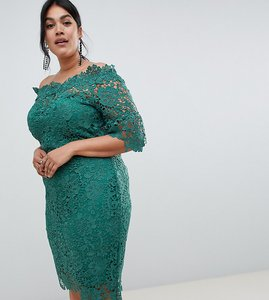 Read more about Paper dolls plus off shoulder crochet midi dress with frill sleeve-green