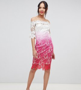 Read more about Paper dolls tall off shoulder crochet midi dress in ombre metallic lace-multi