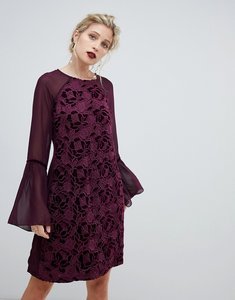 Read more about Paper dolls velvet lace shift dress with sheer sleeve in wine-red