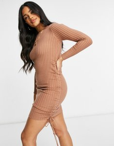 Read more about Parallel lines bodycon mini knit dress with ruched sides in brown