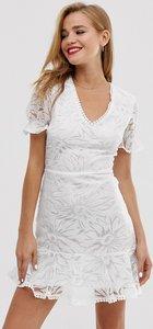 Read more about Parisian mini tea dress in floral devore-white