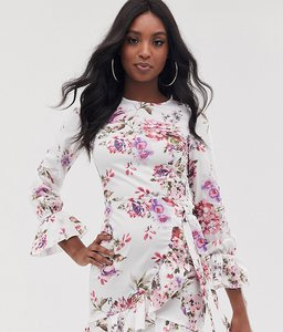 Read more about Parisian tall floral mini dress with fluted sleeve detail-white