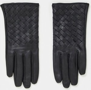 Read more about Paul costelloe leather gloves with weave detail in black