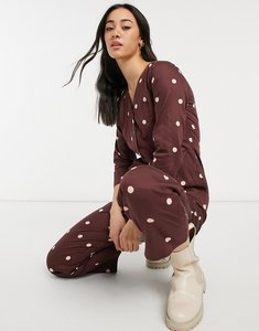 Read more about People tree organic relaxed jumpsuit in spot print-brown