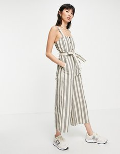 Read more about People tree relaxed wide leg jumpsuit with tie waist in stripe-white