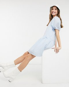 Read more about Pieces marzipan puff sleeve smock dress in lichen blue