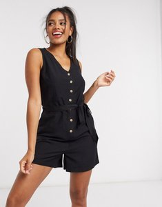 Read more about Pieces playsuit with tie waist in black
