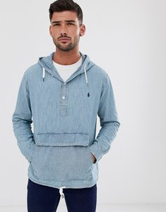 Read more about Polo ralph lauren chambray overhead hooded jacket in light wash-blue