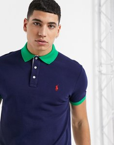 Read more about Polo ralph lauren custom regular fit player logo contrast collar pique polo in french navy