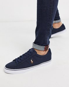 Read more about Polo ralph lauren sayer canvas trainer with multi polo player in navy-white