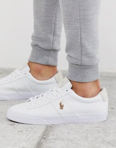 Read more about Polo ralph lauren sayer canvas trainer with multi polo player in white-navy