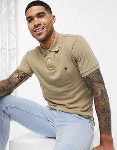 Read more about Polo ralph lauren slim fit mesh polo in tan with player logo-brown