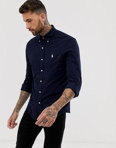 Read more about Polo ralph lauren slim fit pique shirt player logo button down in navy