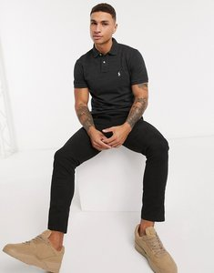 Read more about Polo ralph lauren slim fit polo in black marl with player logo
