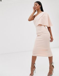 Read more about Pretty lavish one shoulder midi dress in pink
