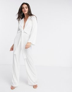 Read more about Pretty lavish plunge tie waist sequin jumpsuit in white