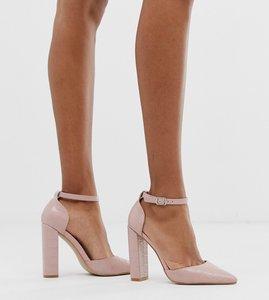 Read more about Public desire sofia blush croc block heeled shoes-neutral