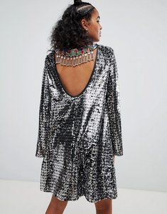 Read more about Ragyard swing dress in sequin with gemstone back trim-silver