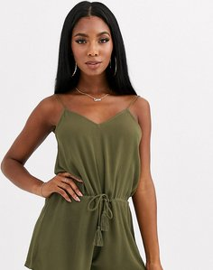 Read more about Rare bird beach playsuit in khaki-green