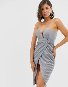 Read more about Rare buckle wrap front midi dress in silver