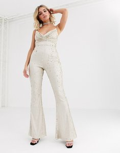 Read more about Rare london cowl front sequin jumpsuit with chain strap detail in light gold