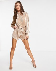 Read more about Rare london metallic plisse playsuit in gold