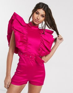 Read more about Rare london playsuit with belt and statement sleeve detail in pink
