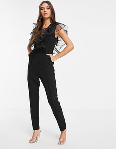 Read more about Rare london v neck jumpsuit with frill detail in black