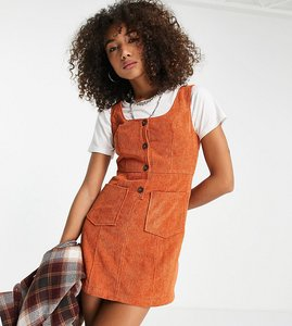 Read more about Reclaimed vintage inspired cord pinny dress in brown