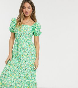 Read more about Reclaimed vintage inspired midi dress with back detail and puff sleeve in floral print-multi