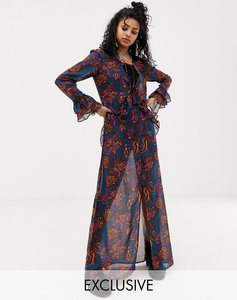 Read more about Sacred hawk maxi dress in sheer floral paisley-navy