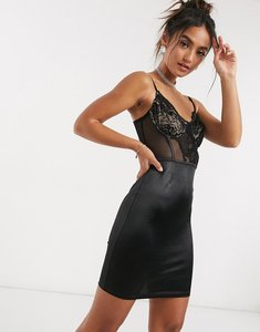 Read more about Saint genies lace and satin mini dress in black