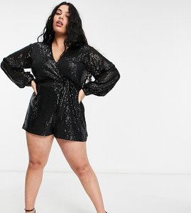 Read more about Saint genies plus balloon sleeve sequin playsuit in black
