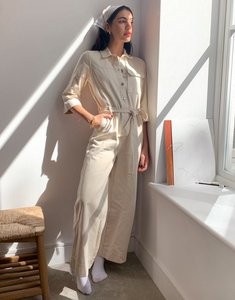 Read more about Selected femme denim jumpsuit with belted waist in ecru-cream