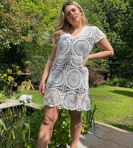 Read more about Simply be crochet smock dress in white