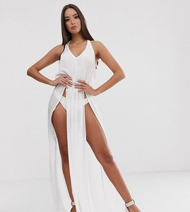 Read more about South beach exclusive maxi split beach dress in white