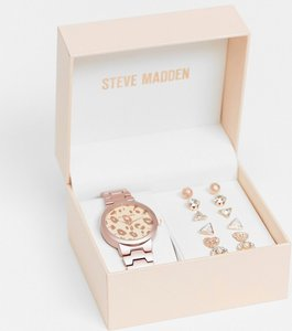 Read more about Steve madden watch with leopard face and six piece earring set in rose-pink