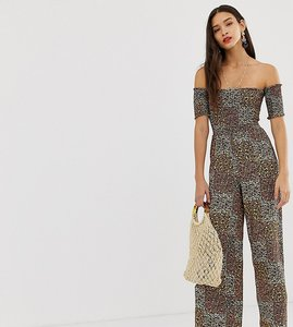 Read more about Stradivarius shirred bardot floral jumpsuit in multi